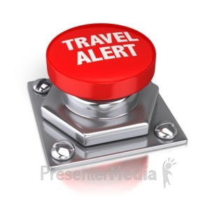 ID# 4073 - Travel Alert Red Button - Presentation Clipart