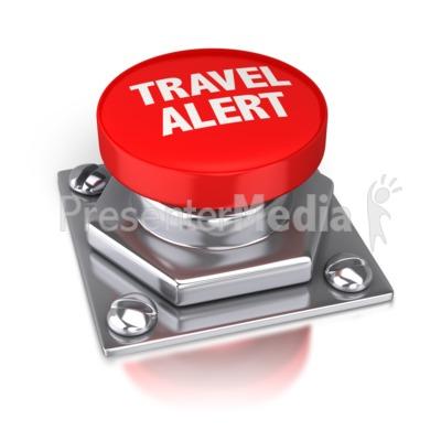 Travel Alert Red Button PowerPoint Clip Art