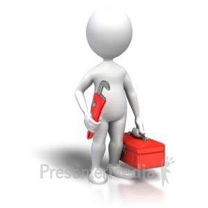 ID# 4074 - Stick Figure Plumber Toolbox - Presentation Clipart