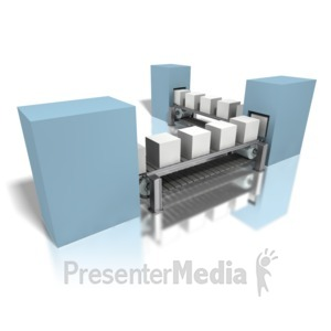 ID# 4076 - Conveyor Gray Boxes Assembly Line - Presentation Clipart