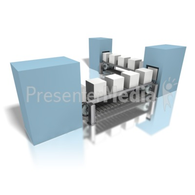 Conveyor Gray Boxes Assembly Line PowerPoint Clip Art