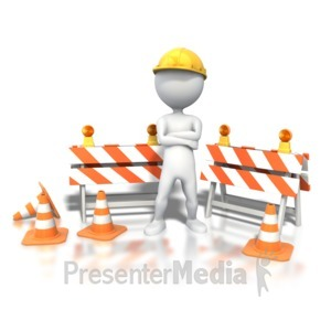 ID# 4091 - Stick Figure Standing Construction Site - Presentation Clipart