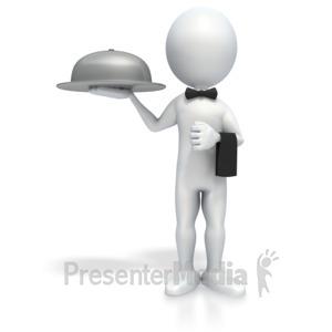 ID# 4151 - Stick Figure Waiter - Presentation Clipart