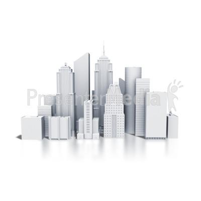 City Downtown Buildings Monotone PowerPoint Clip Art