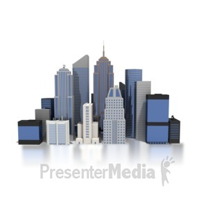 ID# 4159 - City Downtown Buildings - Presentation Clipart