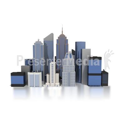 City Downtown Buildings PowerPoint Clip Art
