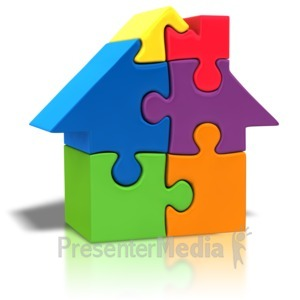 ID# 4232 - Puzzle Piece House Outline - Presentation Clipart