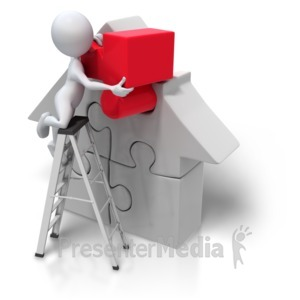 ID# 4235 - Puzzle Piece House Insert - Presentation Clipart
