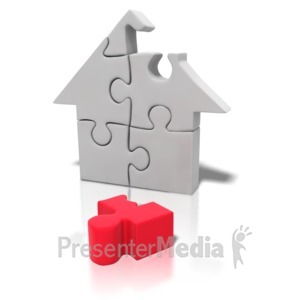 ID# 4237 - Puzzle Piece House Missing - Presentation Clipart