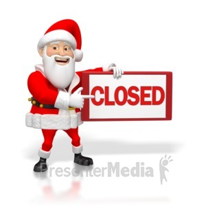 ID# 4248 - Santa pointing to Closed Sign - Presentation Clipart