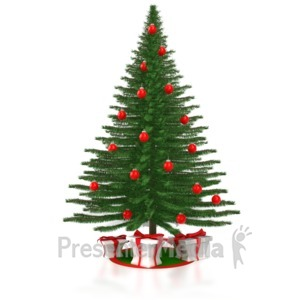 ID# 4260 - A Christmas Tree with Presents - Presentation Clipart