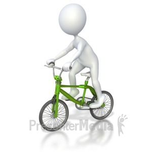 ID# 4262 - Stick Figure Riding Bmx Bike - Presentation Clipart