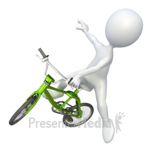 ID# 4263 - Stick Figure Jumping BMX Bike - Presentation Clipart