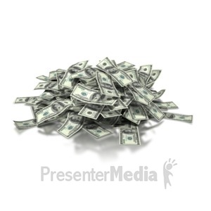 ID# 4283 - Large Pile of Money - Dollar Bills - Presentation Clipart