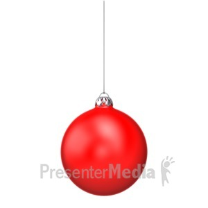ID# 4309 - Single Red Christmas Ornament - Presentation Clipart
