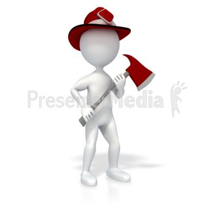 Stick Figure Firefighter PowerPoint Clip Art