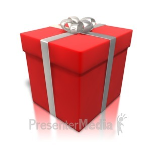 ID# 4322 - Red Gift Shiny Wrapping - Presentation Clipart