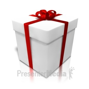 ID# 4323 - White Gift Shiny Wrapping - Presentation Clipart