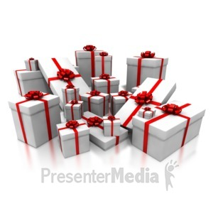 ID# 4324 - Pile White Gifts with Red Decor - Presentation Clipart