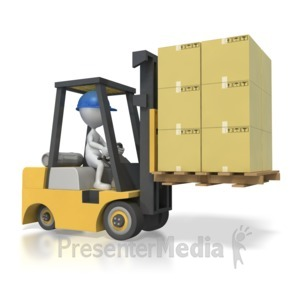 ID# 4346 - Stick Figure Driving Forklift with Boxes - Presentation Clipart