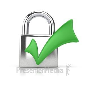 ID# 4367 - Lock Check Mark - Presentation Clipart