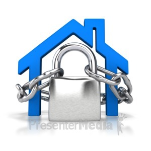 ID# 4368 - Locked House Outline - Presentation Clipart