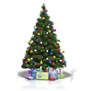 ID# 4375 - Christmas Tree Shiny Lights - Presentation Clipart