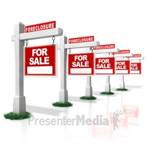 ID# 4407 - Multiple Real Estate Foreclosure Signs i - Presentation Clipart
