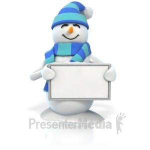 ID# 4410 - Winter Snowman Holding Blank Sign - Presentation Clipart