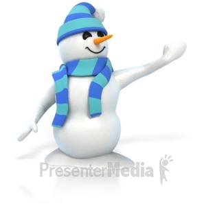 ID# 4412 - Winter Snowman Presenting - Presentation Clipart