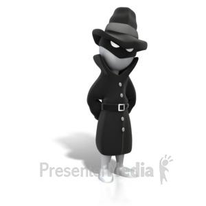 ID# 4414 - Spy Standing Suspicious - Presentation Clipart