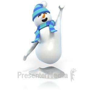 ID# 4427 - Snowman Joy Jumping - Presentation Clipart