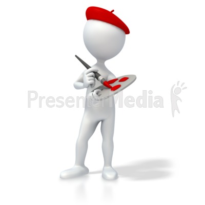 Artist with Paint Brush and Palette PowerPoint Clip Art