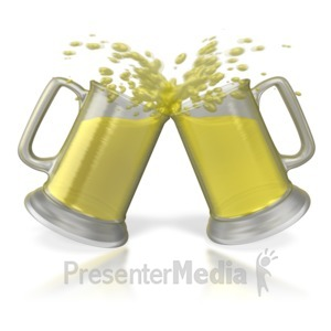 ID# 4447 - Beer Cheers Toast  - Presentation Clipart