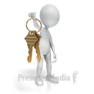 ID# 4451 - Figure Offers Gold Keys - Presentation Clipart