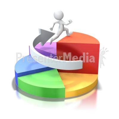 Pie Chart Circle Stick Figure Run Up PowerPoint Clip Art