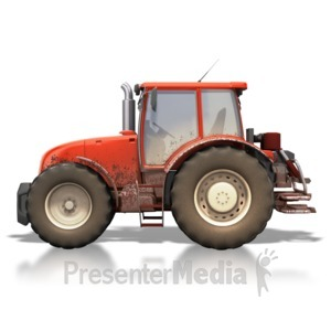 ID# 4469 - Red Tractor Dirty - Presentation Clipart
