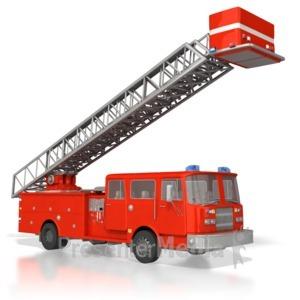 ID# 4478 - Emergency Fire Truck Raised Ladder - Presentation Clipart