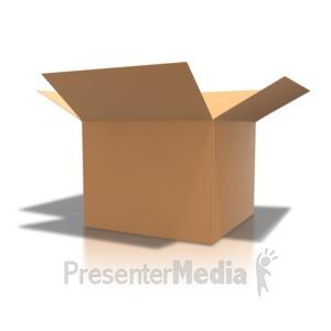 ID# 4501 - Brown Cardboard Box Open - Presentation Clipart
