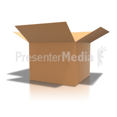 Brown Cardboard Box Open PowerPoint Clip Art