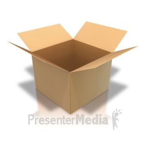 ID# 4504 - Brown Cardboard Box Open Angle - Presentation Clipart