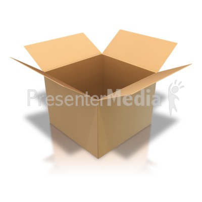 Brown Cardboard Box Open Angle PowerPoint Clip Art
