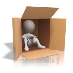ID# 4513 - Stick Figure Cardboard Box Homeless - Presentation Clipart