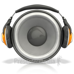 ID# 4517 - Speaker Wearing Headphones - Presentation Clipart