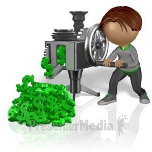 ID# 4520 - Stick Figure Cranking Money - Presentation Clipart