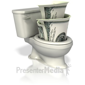 ID# 4526 - Money Down the Toilet - Presentation Clipart
