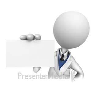 ID# 4538 - Stick Figure Dentist Holding Blank Card  - Presentation Clipart