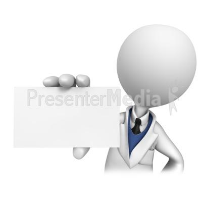 Stick Figure Dentist Holding Blank Card  PowerPoint Clip Art