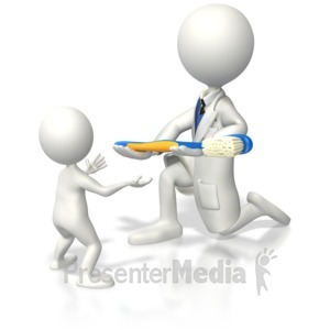ID# 4541 - Stick Figure Dentist Giving Kid a Toothb - Presentation Clipart