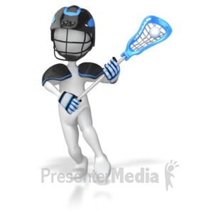 ID# 4574 - Stick Figure Lacrosse Player  - Presentation Clipart